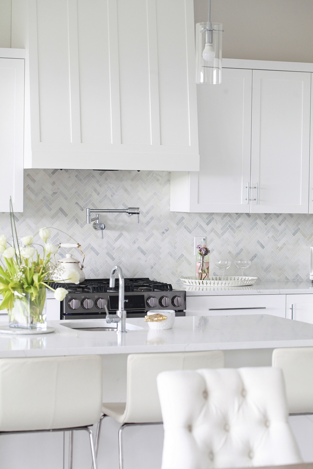White Kitchen, Home Decor, Contemporary, Herringbone, Marble