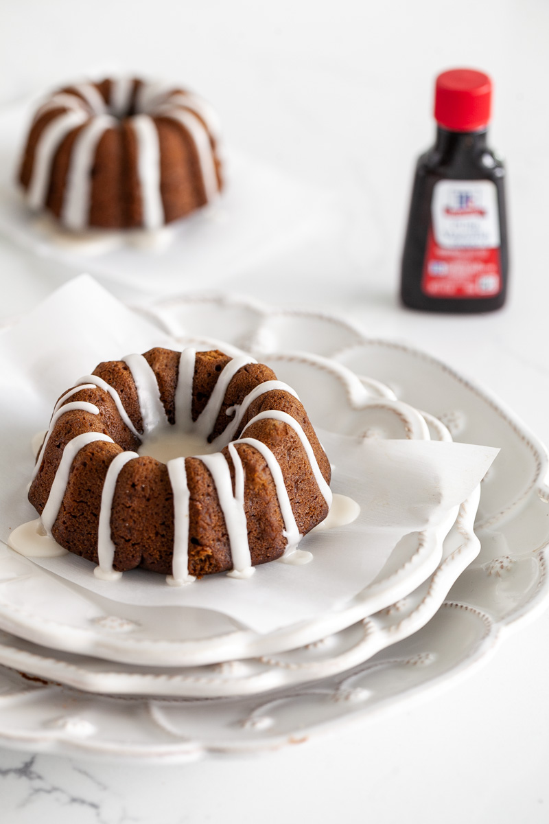 An easy recipe for Gingerbread Bundt Cakes with vanilla glaze for the holiday season
